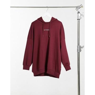 ノイジーメイ パーカー スウェット レディース Noisy May oversized hoodie with slogan in red エイソス ASOS