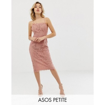 エイソス ASOS Petite レディース ワンピース ワンピース・ドレス ASOS DESIGN Petite square neck pencil midi dress in lace Soft blush