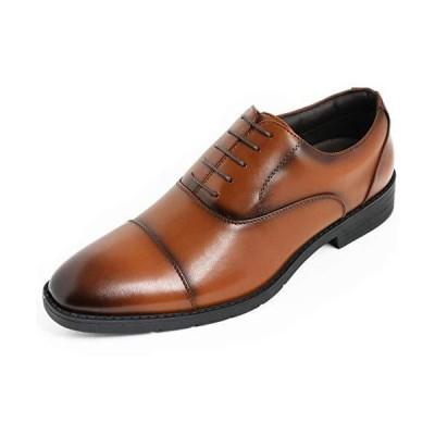 アシスタント ビジネスシューズ 防水 メンズ 軽量 革靴 紳士靴 (ストレートチップ茶, 25.0cm)
