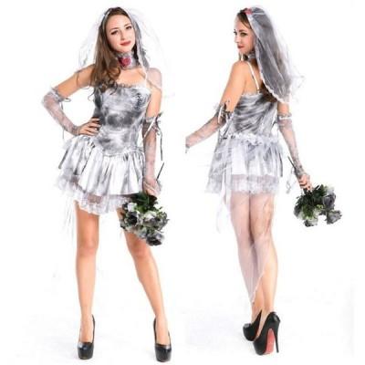 コスプレ ゾンビ 花嫁風 ゴーストブライド 可愛い ミニウエディング ドレスコスチューム ハロウィンコスプレ衣装