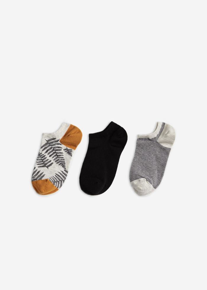 (三入組)漂浮少女.舒棉船型襪(葉子/黑色/條紋)