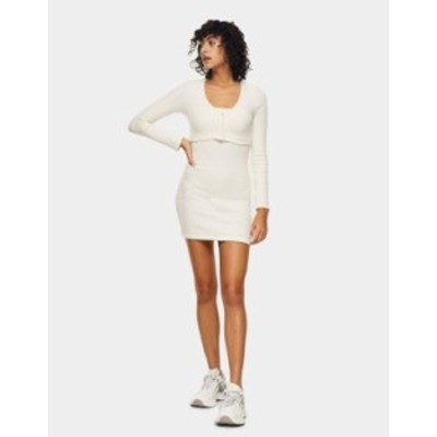 トップショップ レディース ワンピース トップス Topshop ribbed cardigan dress in white Wh1