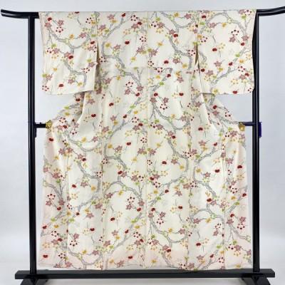 小紋 美品 優品 橘 クリーム 袷 身丈154.5cm 裄丈61.5cm S 正絹 中古