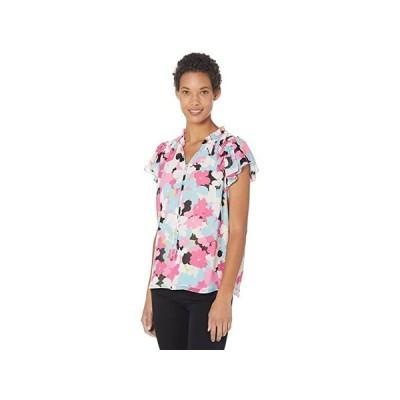 カルバン・クライン Flutter Sleeve Blouse wu002F Smocking レディース シャツ トップス Flamingo Multi