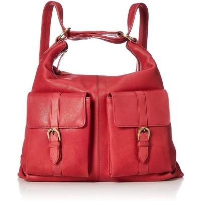 [ハレルヤ] 牛革 2WAY リュックサック Mサイズ バッグ 鞄 ヌメ革A4 HAB009-Red レッド