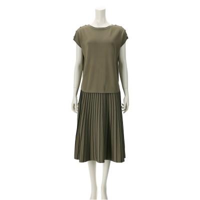 CARRIERE 釦アクセントニットプルオーバー&プリーツ風スカート