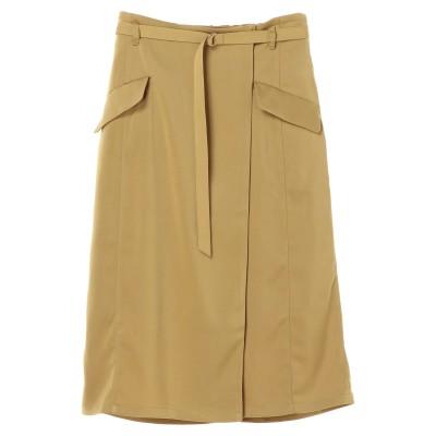 ベルト付きラップ風ナロースカート