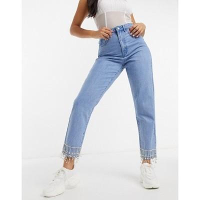 ミスガイデッド レディース デニムパンツ ボトムス Missguided embellished riot mon jean in blue