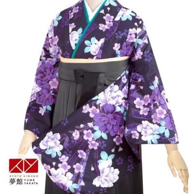 卒業式 袴 セット レンタル 大学 黒 熨斗目に牡丹と桜 G250