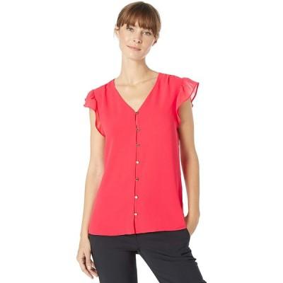 Calvin Klein レディース ボタンフロントブラウス US サイズ: Small カラー: ピンク