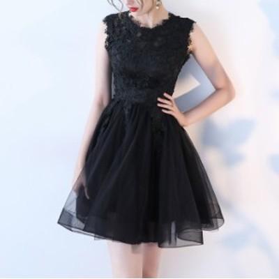韓国 パーティードレス 黒 ミニドレス フレアスカート リトルブラックドレス チュールドレス 結婚式 お呼ばれドレス 20代 大きいサイズ