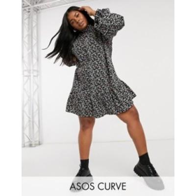 エイソス レディース ワンピース トップス ASOS DESIGN Curve frill collar button through smock mini dress in floral print Black bas