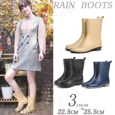 防水ブーツ レディース レインシューズ 雨靴 長靴 防水 靴 ミディアム
