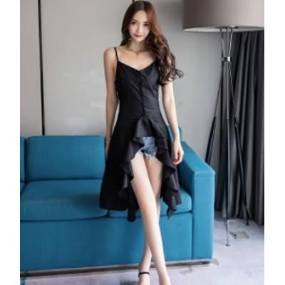 ドレスワンピース キャミ 黒 白 アシンメトリー お呼ばれ 秋物 冬物 最新 レディース ファッション 2020 人気 可愛い 大人