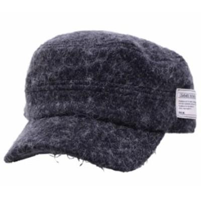 60~63cm対応 サイドワッペン起毛ワークキャップ レールキャップ ブラック 帽子 メンズ 大きいサイズ exas