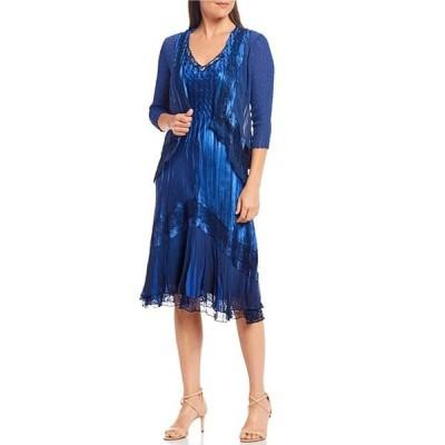 コマロフ レディース ワンピース トップス 3/4 Sleeve Jacket Ombre Lace Detail V-Neck Midi Dress