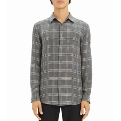 Theory セオリー ファッション アウター Theory Mens Gray Size XL Button Down Lightweight Plaid Flannel Shirt