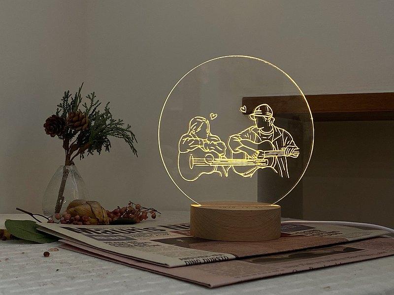 此木-暖心夜燈 客製化夜燈 爸爸節七夕情人節結婚禮物