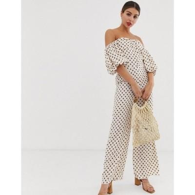 グラマラス レディース ワンピース トップス Glamorous jumpsuit with puff sleeves in floral polka dot  Cream floral spot