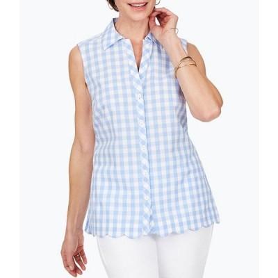 フォックスクラフト レディース シャツ トップス Lilith Gingham Sleeveless Point Collar Button Front Blouse