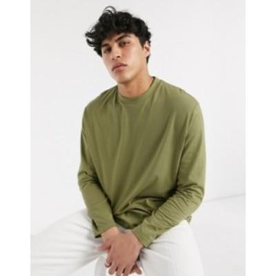 エイソス メンズ シャツ トップス ASOS DESIGN relaxed long sleeve t-shirt in khaki Dried herb