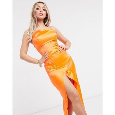 アイソウイットファースト I Saw It First レディース ワンピース マキシ丈 ワンピース・ドレス Cowl Neck Satin Maxi Dress In Orange オレンジ