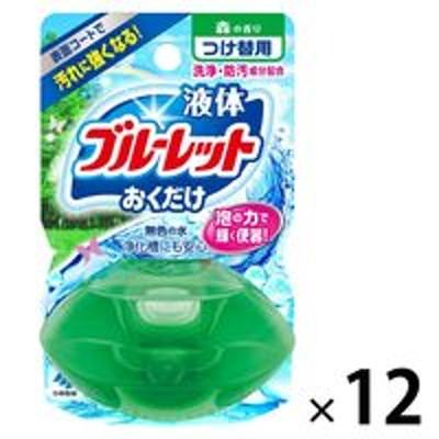 小林製薬液体ブルーレットおくだけ トイレタンク芳香洗浄剤 つけ替え用 森の香り 70ml 1セット(12個) 小林製薬