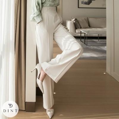 「DINT」★送料無料★P2339 サイド·ベルト·ハイウェスト·パンツ セレブ系オフィススタイル 韓国ファッションブランドDINTのオシャレなオフィススタイル提案!