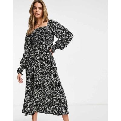 ミスガイデッド Missguided レディース ワンピース ワンピース・ドレス long sleeve midi dress with shirred bust in black ditsy floral ブラック
