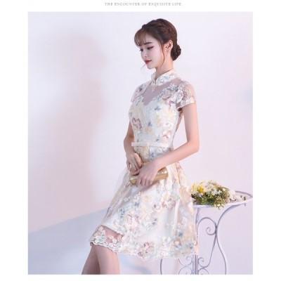 エレガント シースルー 切り替え 花柄 刺繍 半袖 ひざ丈 ドレス
