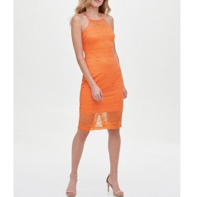 ゲス レディース ワンピース トップス Halter Neck Sleeveless Strappy Back Lace Sheath Dress Orange