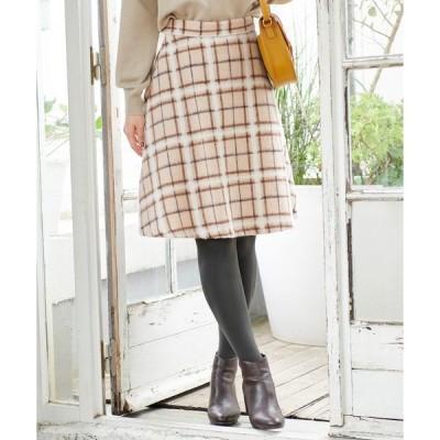 スカート ウール混立体シャギーフレアスカート