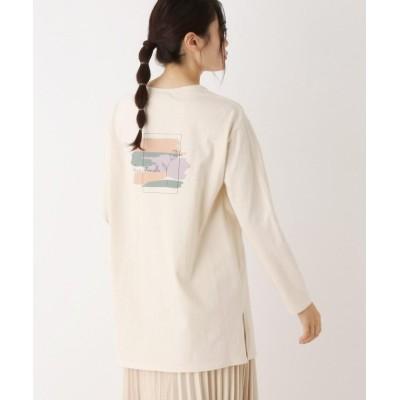 【ピンクアドベ】 バックプリント ロングTシャツ レディース クリーム 40(L) pink adobe