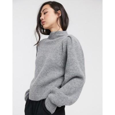 ウィークデイ レディース ニット・セーター アウター Weekday Sadie puff sleeve sweater in gray