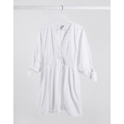 エイソス レディース ワンピース トップス ASOS DESIGN cotton poplin button detail mini smock dress with tie sleeves in white