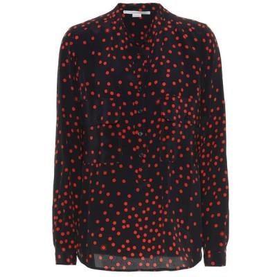 ステラ マッカートニー Stella McCartney レディース ブラウス・シャツ トップス Polka-dot silk shirt Ink/Vermillion