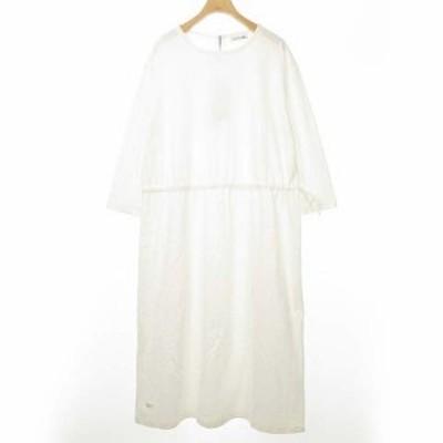 【中古】未使用品 ラコステ LACOSTE EF041EL ウェストドロスト ドレス ワンピース ロング丈 七分袖 40 ホワイト