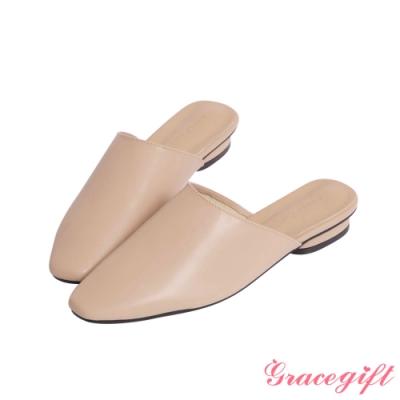Grace gift-全素面平底穆勒鞋 杏