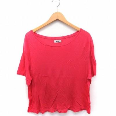 【中古】アクネ Acne Tシャツ カットソー 丸首 半袖 無地 シンプル S ピンク /FT19 レディース 【ベクトル 古着】