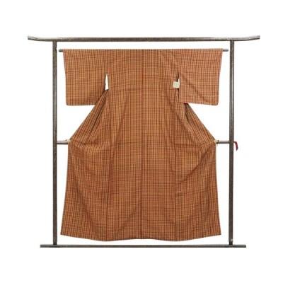 リサイクル着物 紬 正絹赤茶地格子柄袷紬着物