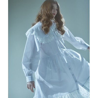 ドレス 【MANAVIS7 】レーススクエアシャツワンピース / LACE SQUARE SHIRT DRESS