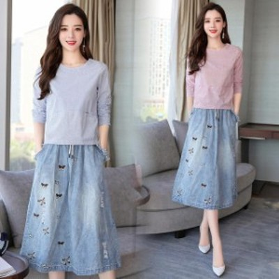 レディース セットアップ 半袖 2点セット tシャツ デニムスカート カジュアル シャツブラウス 体型カバー ゆったり 30代40代50代
