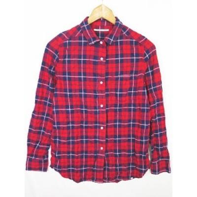 【中古】ガリャルダガランテ GALLARDAGALANTE コットンシャツ 2WAY 長袖 F チェック 赤系 sa9998 レディース