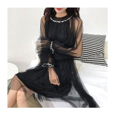 コーラス カラオケ 衣装 演奏会 パーティー コーラスドレス シースルー地ワンピース 首元 袖にスパンコール サイズを気にすることのない人気なデザインです 黒