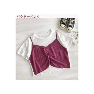 【送料無料】若いもの 偽 ショートTシャツ 女 夏 韓国風 シンプル 着やせ 丸襟 | 346770_A62826-5722481