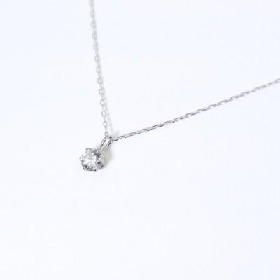 PT ダイヤモンド ネックレス 一粒 シンプル プラチナ 0.1ct