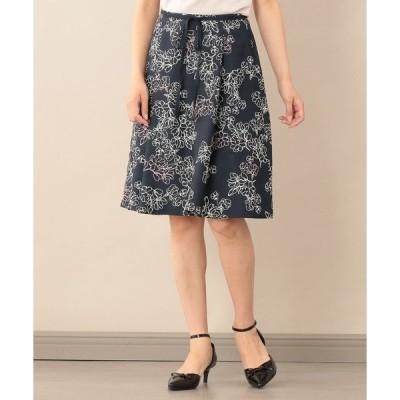 スカート 【Sサイズ〜】【ウォッシャブル】ラインフラワープリントスカート