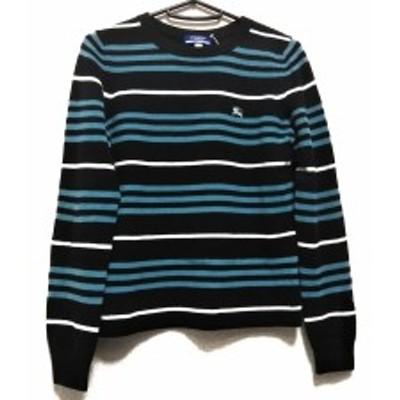バーバリーブルーレーベル Burberry Blue Label 長袖セーター サイズ38 M レディース 黒×ライトブルー×白 ボーダー【中古】20200616