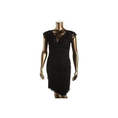 海外セレクション ドレス ワンピース Marina 5873 レディース ブラック Lace Embellished Party Cocktail ドレス 14 BHFO