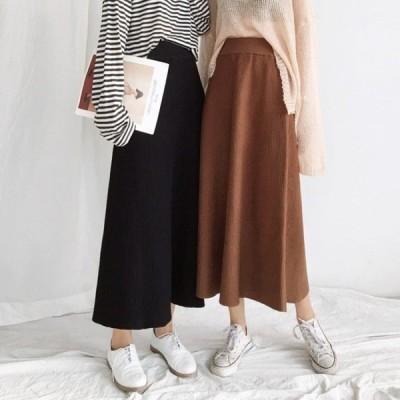 レディースファッション ボトムス マキシスカート Aライン ニットスカート ロング